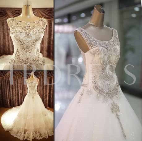 A-Line Beaded Appliques Cathedral Train Wedding Dress