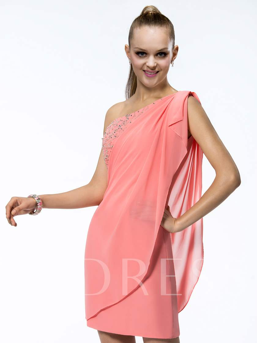 One-Shoulder Sheath Beading Ruffles Cocktail Dress