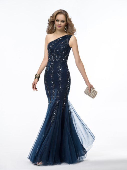 Mermaid One-Shoulder Appliques Sequins Evening Dress