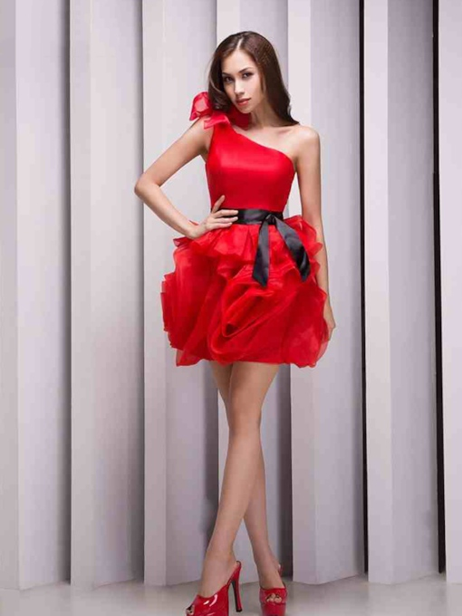 One-Shoulder Bowknot Mini/Short Flower(s) Zipper-Up Homecoming Dress
