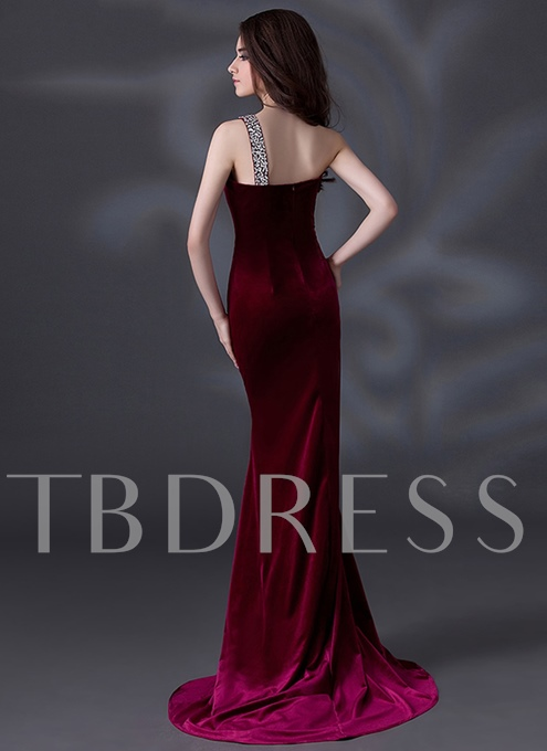 Mermaid Velvet One-Shoulder Beading Evening Dress