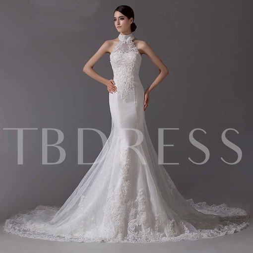 Mermaid/Trumpet Lace-up Cathedral Train Lace Wedding Dress