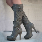 Apricot Zipper Stiletto Heel Knee High Boots With Buckles