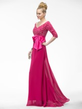 V-Neck Sashes Half Sleeves Evening Dress