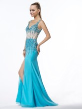 V-Neck Zipper-Up Floor-Length Rhinestone Split Front Prom Dresses