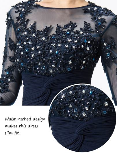 Jewel Appliques/Sequins 3/4 Length Sleeves Mermaid Evening/Mother Dress