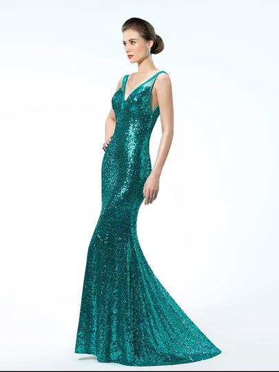 Sequins Trumpet V-Neck Straps Evening Dress
