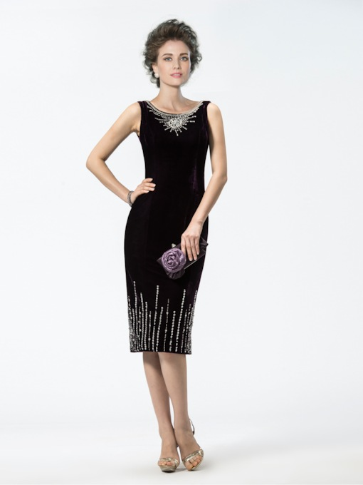 Sheath Scoop Beading Knee-Length Mother of the Bride Dress
