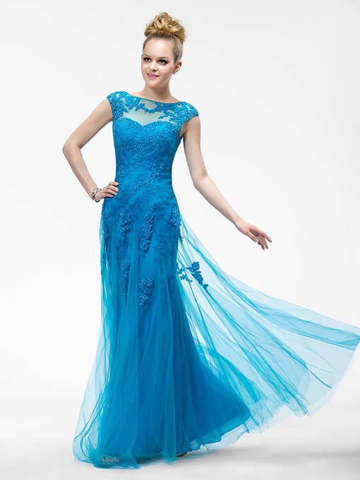 Mermaid Appliques Bateau Zipper-Up Evening Dress