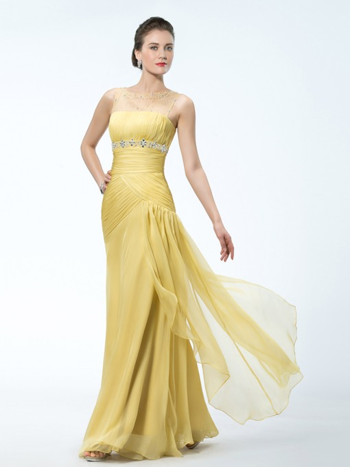 Trumpet Beading Bateau Mesh Evening Dress