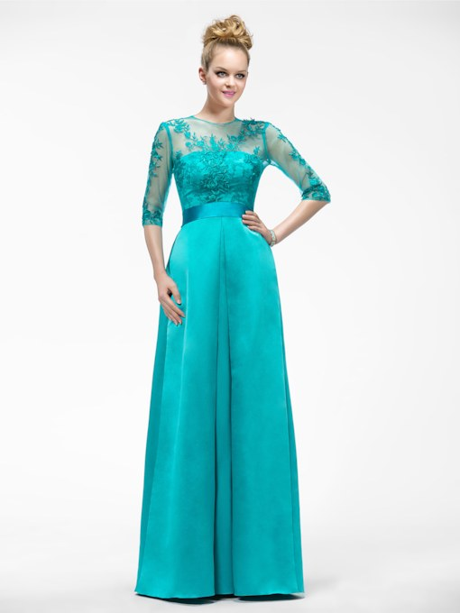A-Line Half-Sleeve Appliques Jewel-Neck Mother of the Bride Dress
