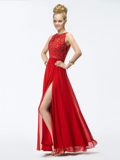 A-line Floor-length Jewel Appliques Evening Dress