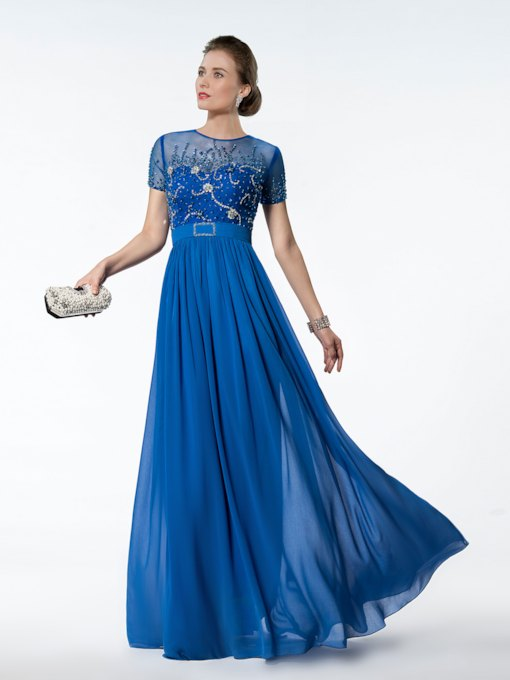 A-Line Beading Short Sleeves Floor Length Prom Dress