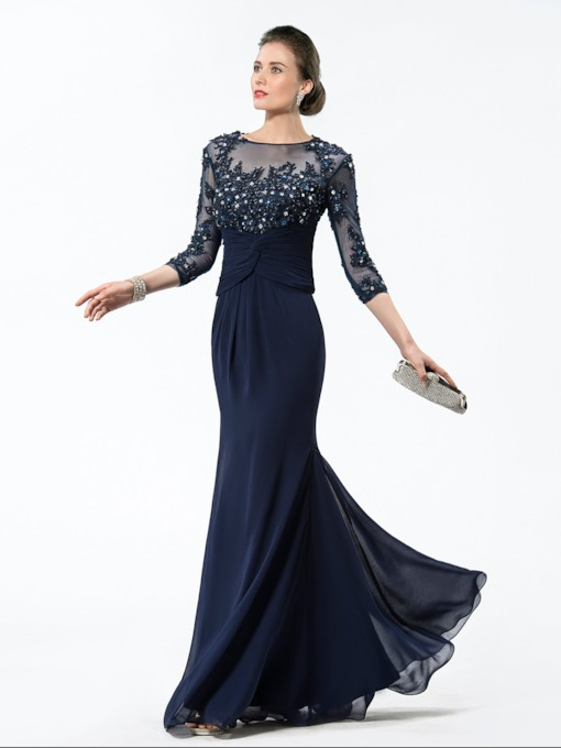 Appliques Sequins Sheath Mother of the Bride Dress