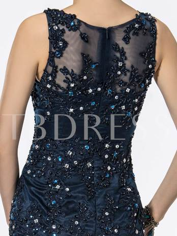 Mermaid Straps Appliques Beadings Sequins Evening Dress