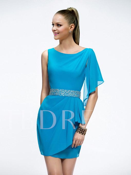 Sheath Scoop Sequins Beading Short-Length Cocktail Dress