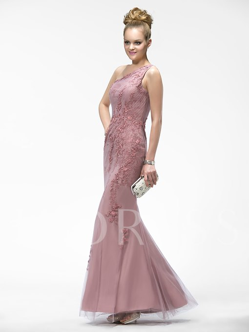 One-Shoulder Mermaid Appliques Floor-Length Evening Dress
