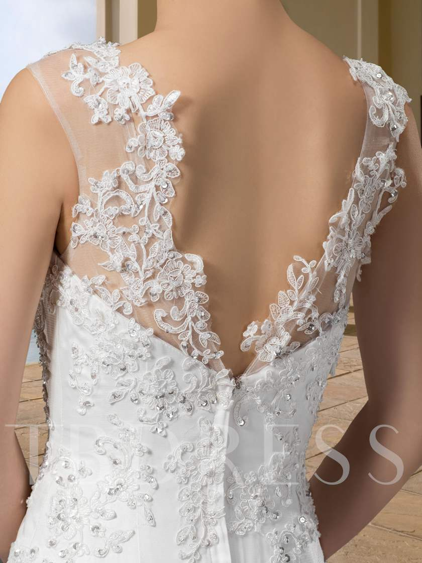 Straps Sequins Appliques Mermaid Wedding Dress