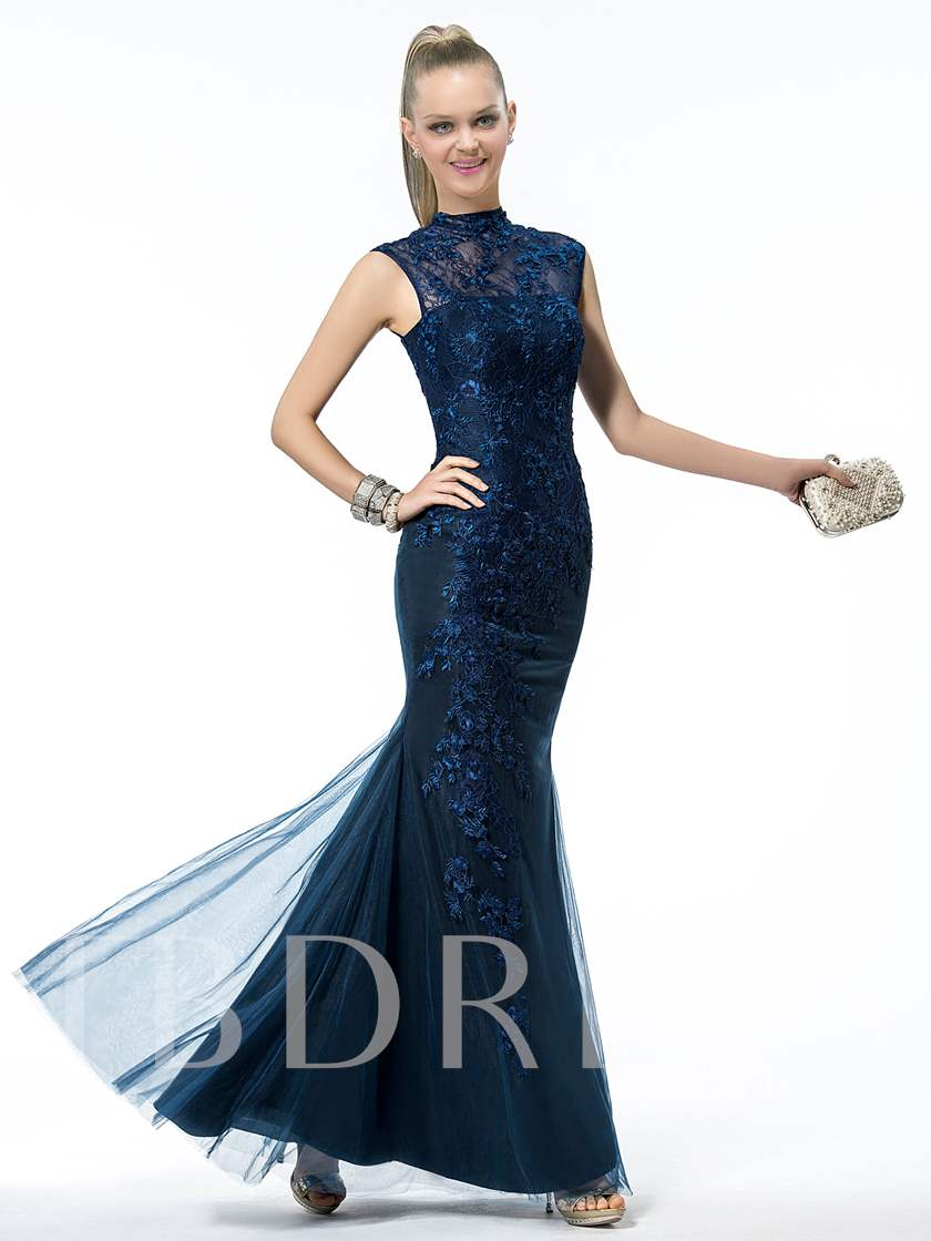 Trumpet/Mermaid High Neck Sleeveless Lace Evening Dress