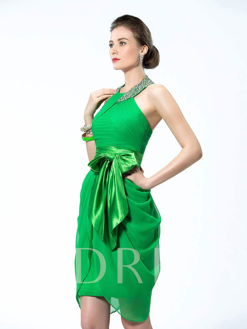 Halter Neckline Studded Belt Bowknot Short Cocktail Dress