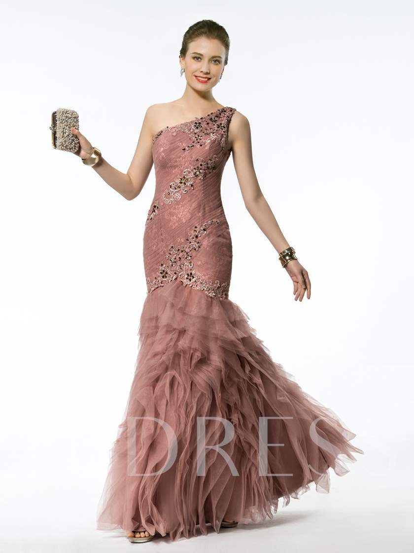 Mermaid/Trumpet Floor-length One-shoulder Appliques/Beading Zipper-up Evening Dress