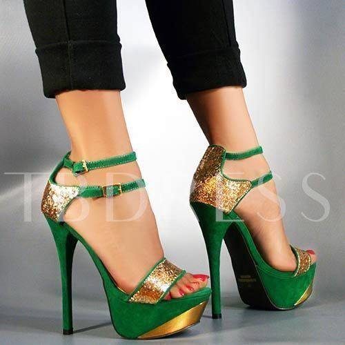 Sequins Heel Covering Platform High Heel Women's Sandals