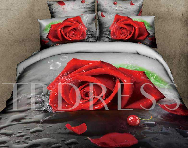 Red Rose and Waterdrop Printed Cotton 4-Piece 3D Bedding Sets/Duvet Covers