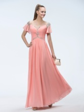 A-line Floor-length Off-the-shoulder Short Sleeves Beading Prom Dress