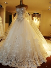 Beading Appliques Luxurious Wedding Dress with Train