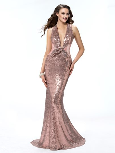 Trumpet Halter Bowknot Sweep Train Evening Dress