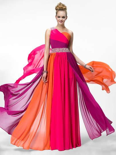 One Shoulder Beading Hollow Out Prom Dress Designed Independently