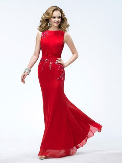 Mermaid Floor-length Bateau Beading Evening Dress