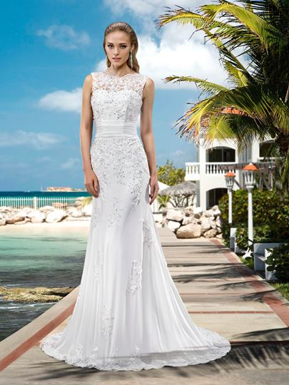 Mermaid Beaded Appliques Wedding Dress