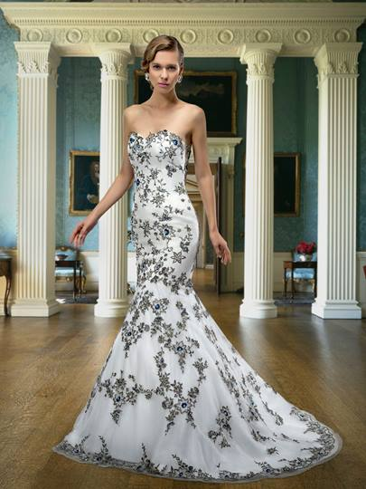 Embroidery Sequins Mermaid Wedding Dress