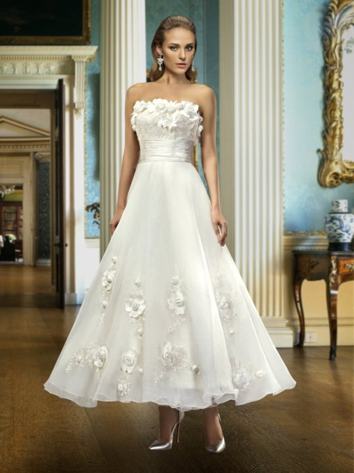 3D Flowers Appliques Ankle-Length Wedding Dress