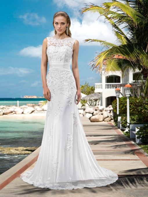 Mermaid Sequins Appliques Beach Wedding Dress