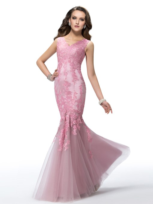 Mermaid Lace V-Neck Floor-Length Evening Dress
