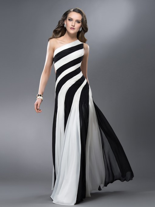 Contrast Color One Shoulder Pleats Hollow Prom Dress