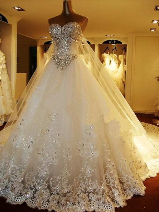 Beading Rhinestone Luxurious Wedding Dress With Train
