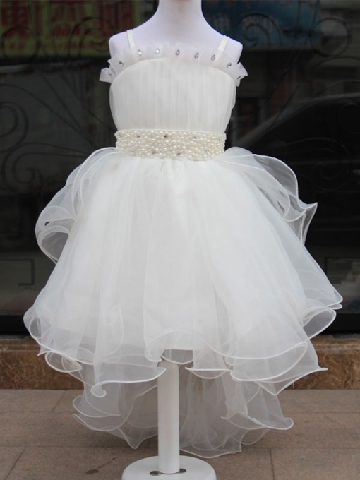 Spaghetti Straps Pearl Sashes Asymmetry Flower Girl dress