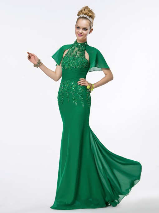 Forest Green Beading Trumpet Evening Dress