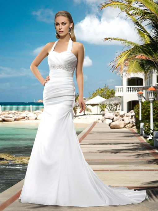 Superior Halter Lace-Up Appliques Beading Court Train Wedding Dress
