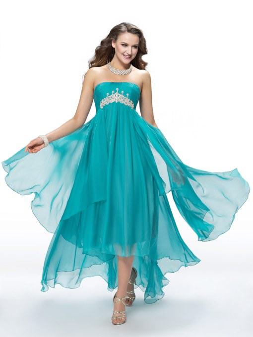 A-Line Asymmetry Empire Sweep Train Rhinestone Prom Dress