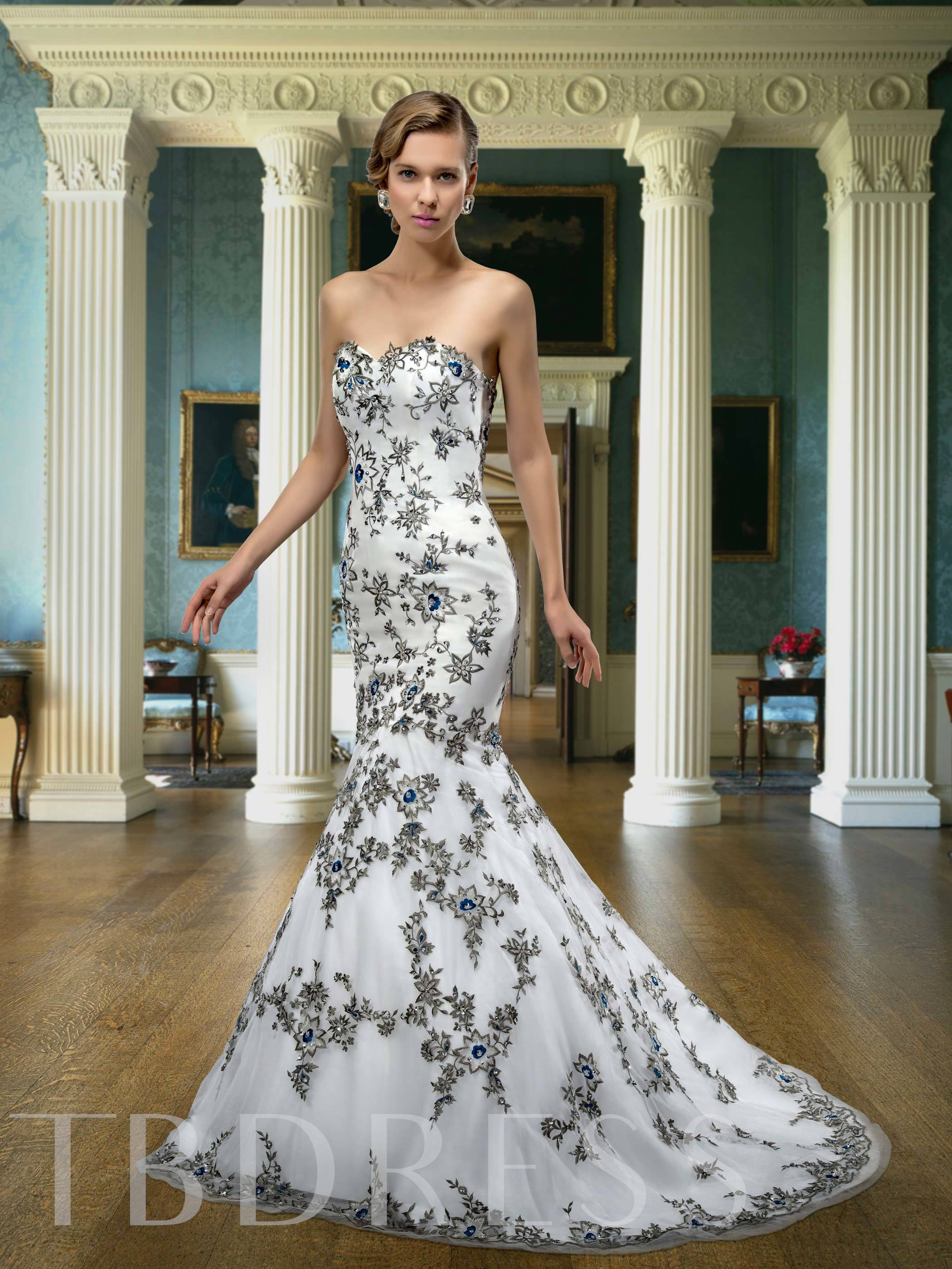 Image of Embroidery Sequins Mermaid Wedding Dress