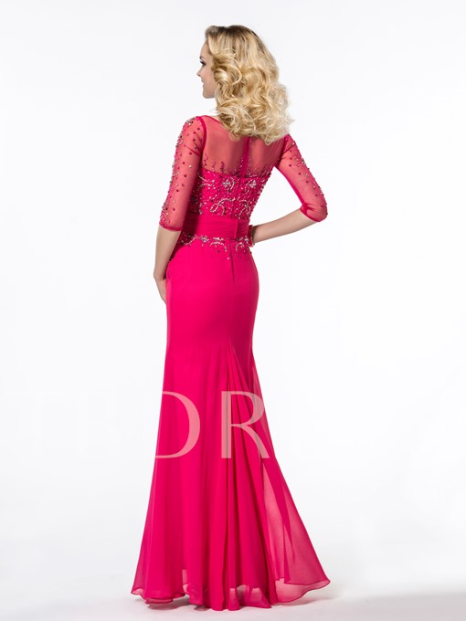 Trumpet Half Sleeves Beading Floor Length Evening Dress