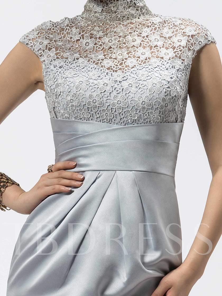 Sheath High-Neck Lace Short Cocktail Dress