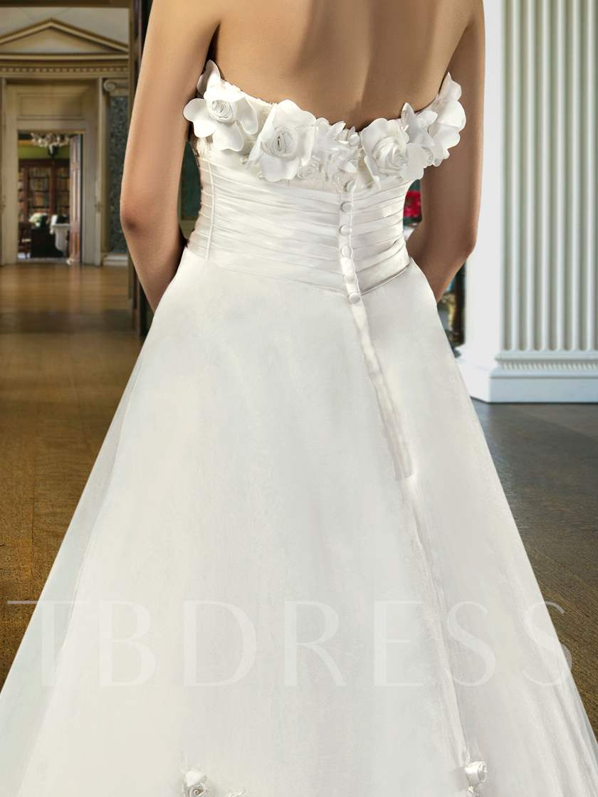 A-Line Strapless Flowers Ankle-Length Wedding Dress