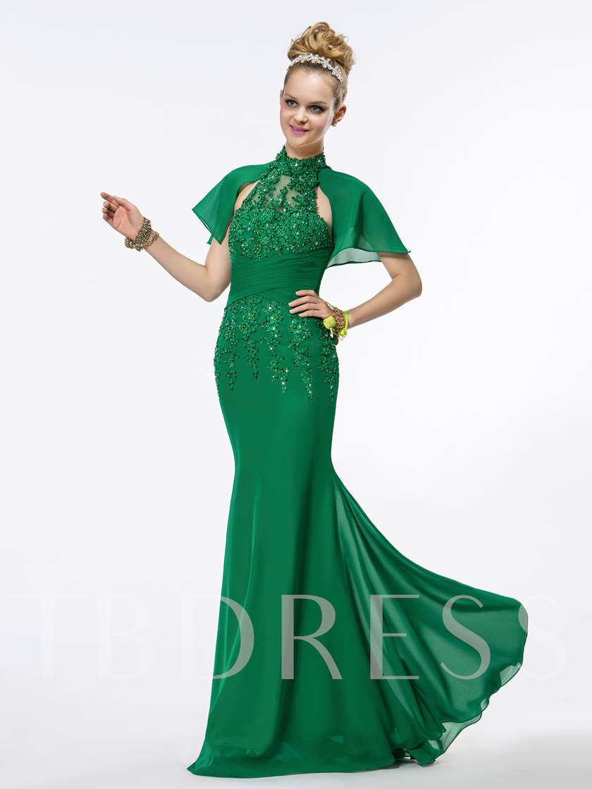 Forest Green Beading Trumpet Evening Dress - Tbdress.com
