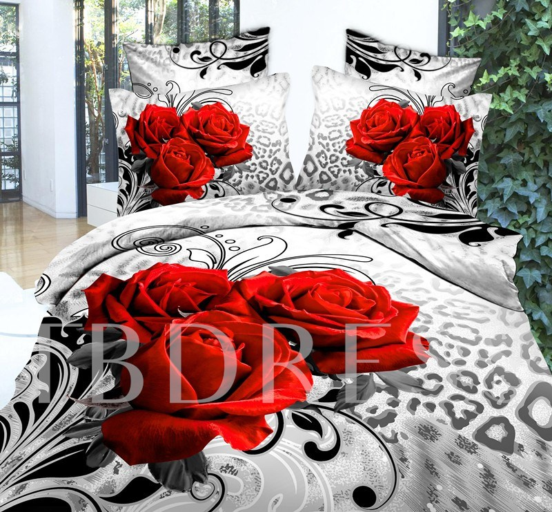 Red Rose Printed 3D 4-Piece Bedding Sets/Duvet Covers