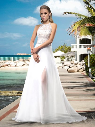 Halter Appilques Beading Beach Wedding Dress